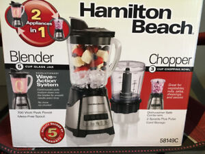 Hamilton Beach 2-in-1 Blender and chopper, brand new never used!