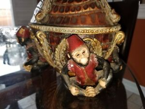 Vintage 4 monkey bowl with lid, Hand painted, Very detailed