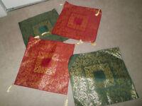 4 enveloppes pour coussins 2 rouges et or 2 verts et or