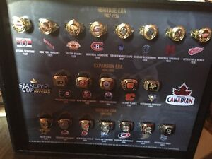 Collectable n h l Stanley cup rings in display case