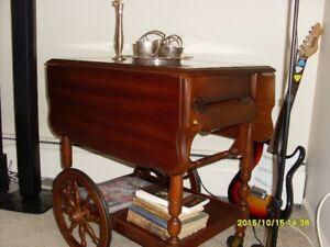 Vintage Mahogany  Drop Leaf ServingTea Table -Cart
