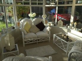 Cream Cane Sofa, Coffee Table, Side Table and Two Chairs
