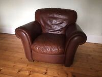 Maskreys Italian Brown Leather 3 Piece Suite (3 seater sofa & 2 armchairs)