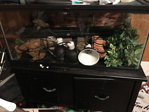 Cage with full set up for bearded dragon