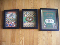 3 Gaming Wall Pictures - Poker, Roulette and Casino