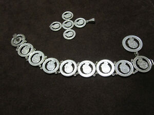 Silver Coin Bracelet + Matching Pendant--Mint Condition