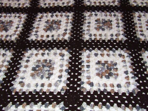 Beautiful Hand Crocheted Afghan #2 - White & Brown Tones - $50 Belleville Belleville Area image 5
