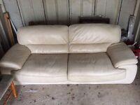 3 seats white leather sofa