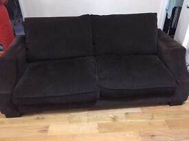 Strong 2 seater fabric sofa, stuffed with duck feathers and hard wood base