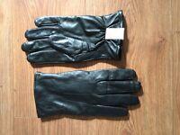 New mens black leather gloves