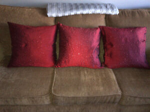 3 Red Beaded throw Pillows