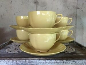 Set of 6 Johnson Brothers Yellow Tea Cups & Saucers
