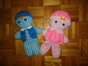 Peluches vintage CHOLLY & LOLLY de Fisher price 1977