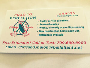 MAID TO PERFECTION CLEANING SERVICE! St. John's Newfoundland image 1