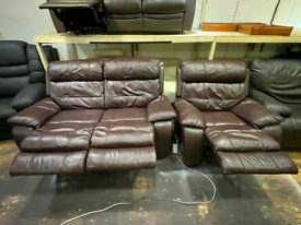 FREE DELIVERY 2+1 brown leather recliner sofa suite