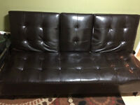 FAUX LEATHER FUTON - FOLDS DOWN