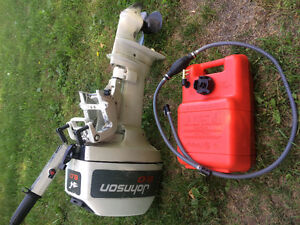 Johnson 8 Horse Outboard with gas tank and hose