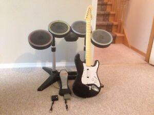 PS3 Rockband 2 Drums and Guitar