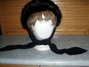 Ladies black mink hat