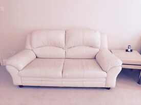 Leather Sofa in Cream. 3 Seater and 2 Seater