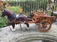 BESWICK CHAMPION BURNHAM BEAUTY MATT SHIRE HORSE WITH CART