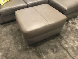 Grey Leather Ottoman/Footstool for couch/living room - $115 OBO