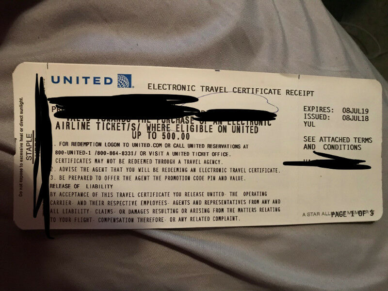 United Airlines Electronic Travel Certificate Of 500 Billets