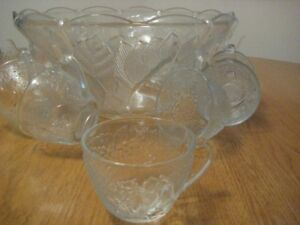 Glass punch bowl with matching cups
