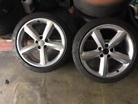 """SET OF FOUR 18"""" GENUINE AUDI S LINE ALLOYS AND TYRES ++BARGAIN++"""