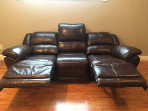 Brown leather couch set (new never used)