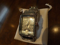 NEW ICED OUT GENEVA silvertone Chronograph RHINESTONE WATCH.  A