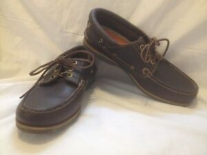 Men's Dark Brown Oiled Leather Timberland Deck Shoes 8M