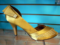 Bronze satin elegant shoes , size 8.5 NEW-$ 30