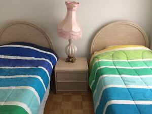 Two Single Beds with mattresses and box springs