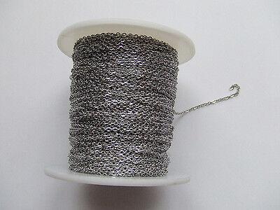 1mt di CATENA in acciaio inox 2x1,5mm  anellini chiusi colore argento scuro