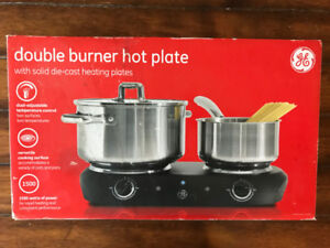 Double Burner Hot Plate GE Brand - solid die cast Heating Plates