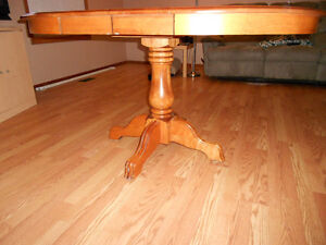 Wooden Pedestal Table & 4 chairs