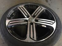 1 x VW GOLF R MK7 ALLOY WHEEL AND TYRE CADIZ GENUINE 18""