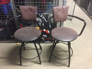 Counter height stools x 2, brown leatherette, black metal frame