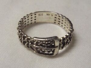 Ladies NVC Ring 925 Sterling Silver Belt style size 9