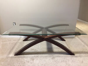 Glass/wood coffee table and end table