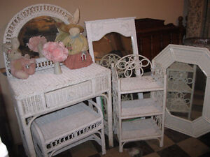 Vintage Wicker Dressing Table / Curtains $45.00