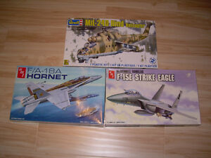 3 AMT model kit F/A-18A Hornet,F-15E Strike Eagle+Revell Helicop