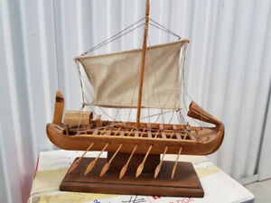 Hand made wooden model of an ancient Egyptian boat