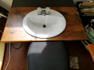 Wooden countertop and sink