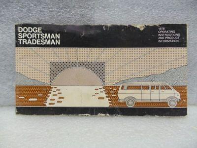 DODGE SPORTSMAN WAGON VAN VDOD100   1978 Owners Manual 16545