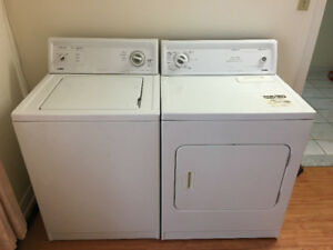 KENMORE WHITE TOP LOAD WASHER & FRONTLOAD ELECTRIC DRYER