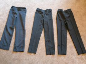Girls grey 3 x Age 8 school trousers (adjustable waist)