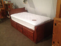 Single captains bed with mattress