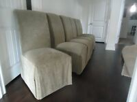 Parson Chairs, Drapes, Area Rug